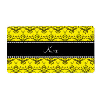 Personalized name Yellow damask Personalized Shipping Labels