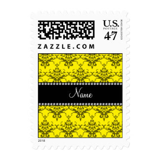 Personalized name yellow damask postage
