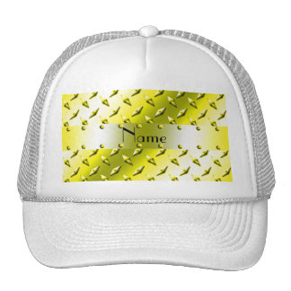 Personalized name yellow diamond plate steel hats