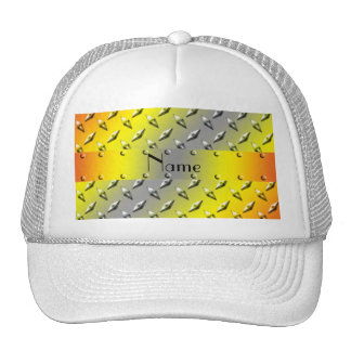 Personalized name yellow diamond plate steel trucker hats
