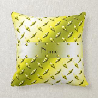 Personalized name yellow diamond plate steel throw pillows