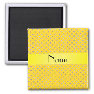 Personalized name yellow diamonds 2 inch square magnet