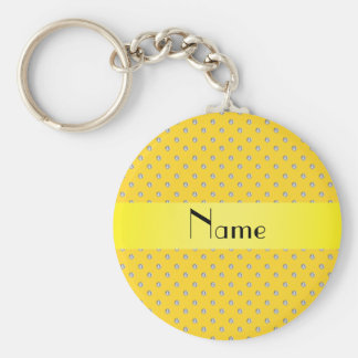 Personalized name yellow diamonds keychains