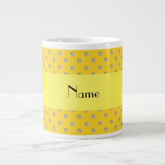 Personalized name yellow diamonds extra large mugs