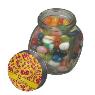 Personalized name yellow dice pattern jelly belly candy jar