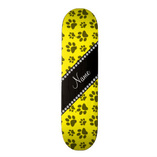 Personalized name yellow dog paw print custom skateboard