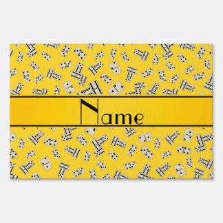 Personalized name yellow dominos yard sign