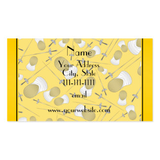 Personalized name yellow fencing pattern Double-Sided standard business cards (Pack of 100)