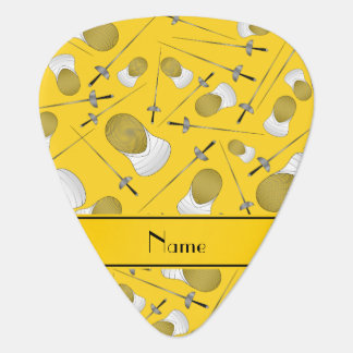 Personalized name yellow fencing pattern guitar pick