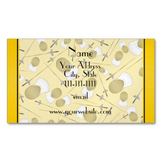 Personalized name yellow fencing pattern magnetic business cards (Pack of 25)