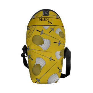 Personalized name yellow fencing pattern messenger bag