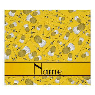 Personalized name yellow fencing pattern poster