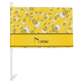 Personalized name yellow fencing pattern car flag