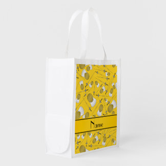 Personalized name yellow fencing pattern reusable grocery bag