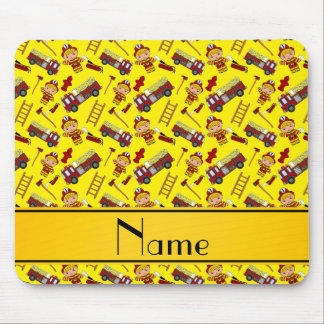 Personalized name yellow firemen trucks ladders mouse pad