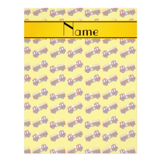 "Personalized name yellow firetrucks 8.5"" x 11"" flyer"