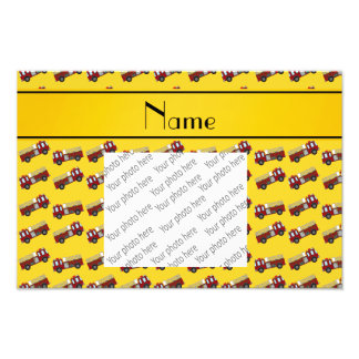 Personalized name yellow firetrucks photo print