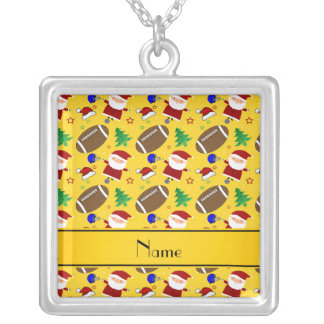 Personalized name yellow football christmas personalized necklace
