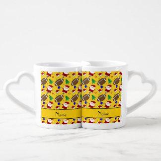 Personalized name yellow football christmas couples' coffee mug set