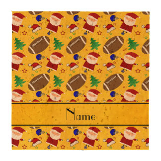 Personalized name yellow football christmas beverage coaster