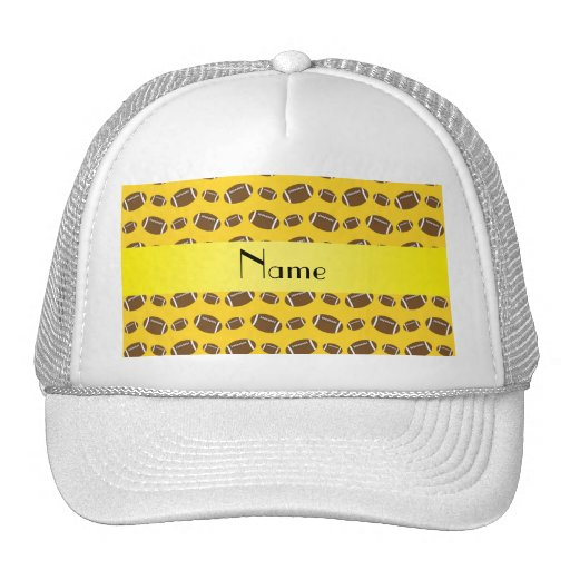 Personalized name yellow footballs hat