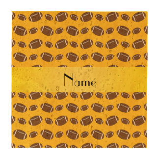 Personalized name yellow footballs drink coaster