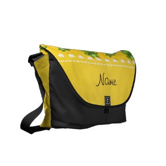 Personalized name yellow frogs courier bags
