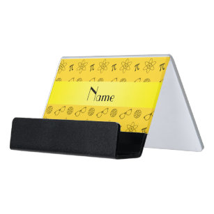 Geek business card holders zazzle personalized name yellow geek pattern desk business card holder colourmoves