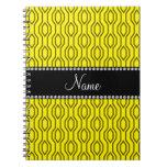Personalized name yellow geometric diamonds journal