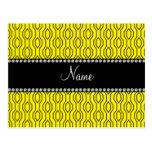Personalized name yellow geometric diamonds postcard