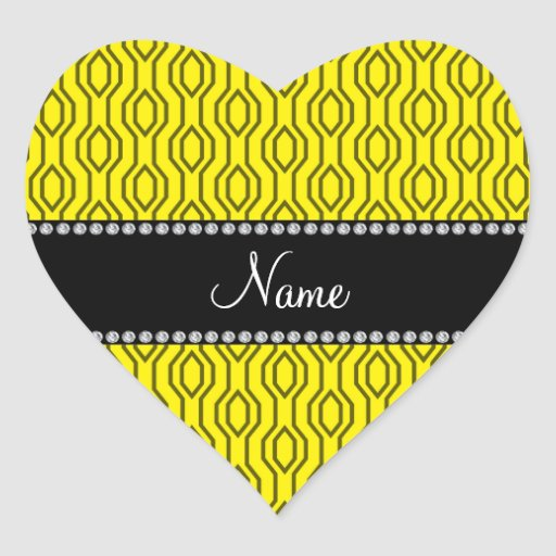 Personalized name yellow geometric diamonds heart sticker