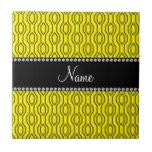 Personalized name yellow geometric diamonds ceramic tiles