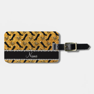 Personalized name yellow glitter boots bows bag tag