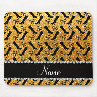 Personalized name yellow glitter boots bows mouse pad