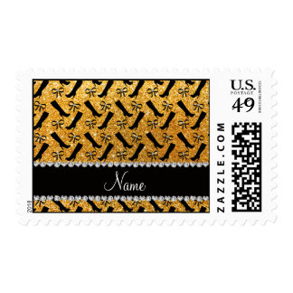 Personalized name yellow glitter boots bows postage