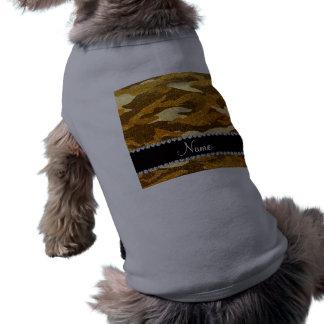 Personalized name yellow glitter camouflage dog tshirt