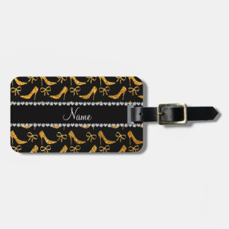 Personalized name yellow glitter high heels bow bag tag