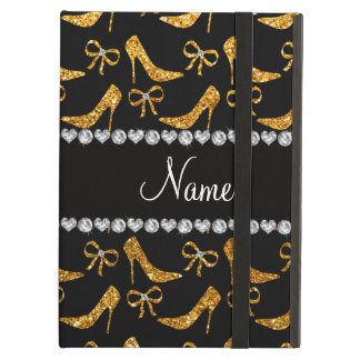 Personalized name yellow glitter high heels bow case for iPad air