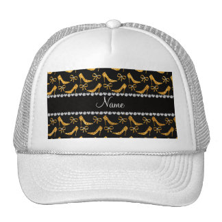 Personalized name yellow glitter high heels bow mesh hats