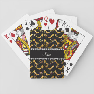 Personalized name yellow glitter high heels bow playing cards