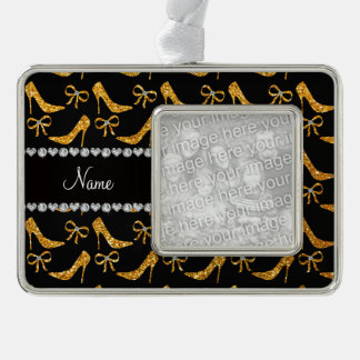 Personalized name yellow glitter high heels bow silver plated framed ornament