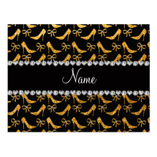 Personalized name yellow glitter high heels bow postcard