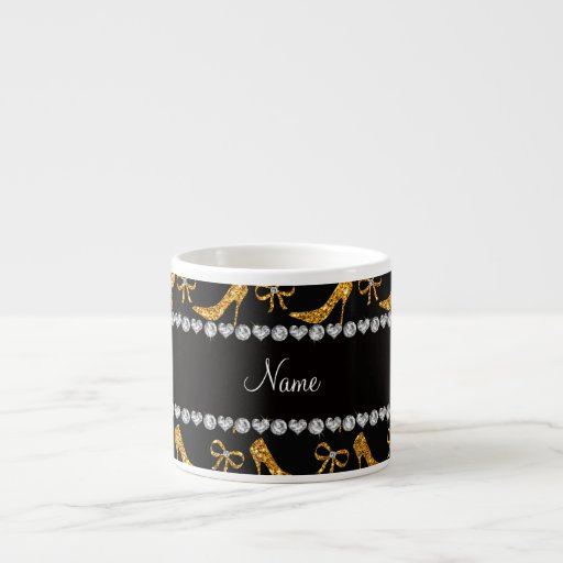 Personalized name yellow glitter high heels bow espresso mugs