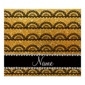 Personalized name yellow glitter lace posters