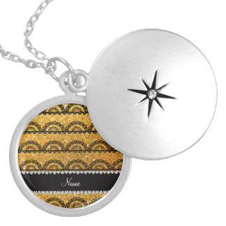 Personalized name yellow glitter lace round locket necklace