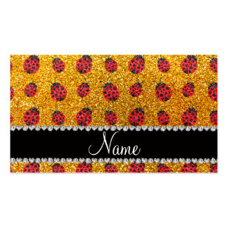 Personalized name yellow glitter ladybug business cards