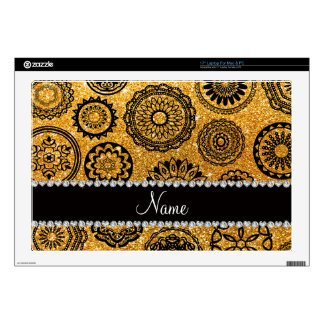 Personalized name yellow glitter mandalas decal for laptop