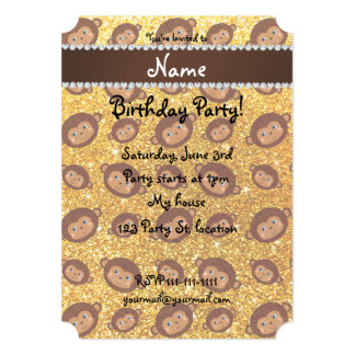 Personalized name yellow glitter monkeys 5x7 paper invitation card