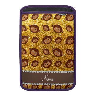Personalized name yellow glitter monkeys MacBook sleeves