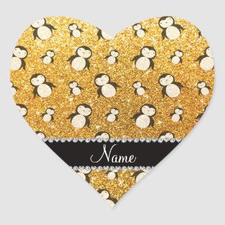 Personalized name yellow glitter penguins heart sticker